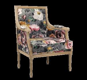 Fotel prosty włoski z tkaniną z kwiatami