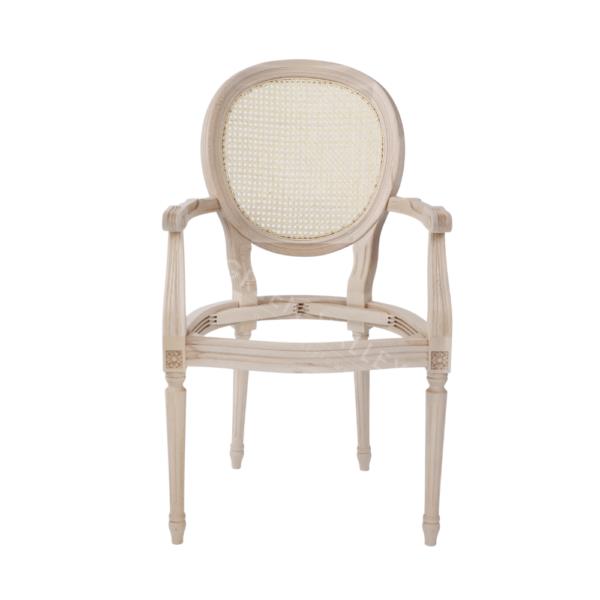 Stelaż drewniany krzesła z rattanem w stylu Ludwik XVI Medalion