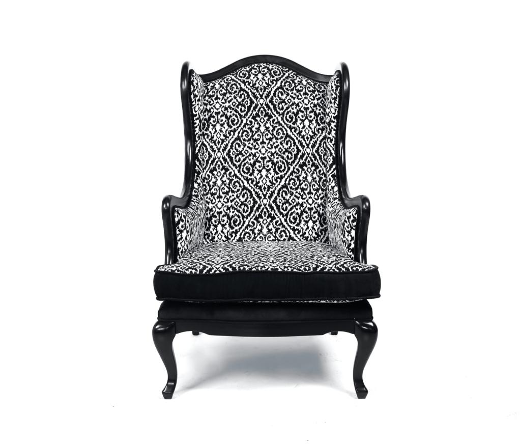 uszak czarny, czarny uszak, fotel, stylowy fotel
